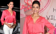Deepika Padukone looks Hot & Gorgeous in Pink Dress at La Senza Lingerie Store launch event