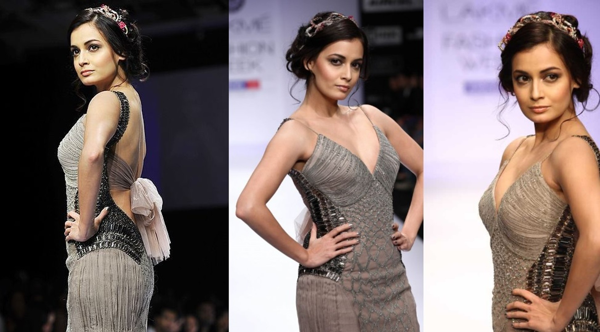 Bollywood Hot Actress Dia Mirza ramp Walks at the Lakme Fashion Week Summer / Resort 2012