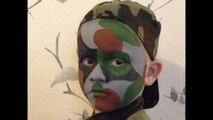 Easy Army Camouflage Face Paint _ Make-up Tutorial - Easy Guide - Children's Face Painting Tutorial