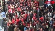 Finale Guingamp-Rennes: départ de la gare de Rennes