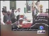 President Asif Ali Zardari along with daughter Bakhtawar Bhutto Zardari showering flowers on the grave of Benazir Bhutto in Garhi Khuda Bakhsh