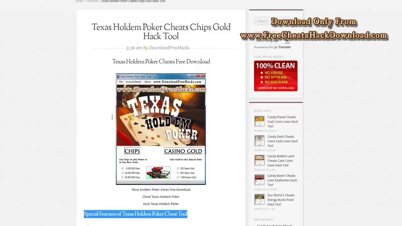 Texas Holdem Poker Cheats No Survey Download 2014 Updated Video Dailymotion
