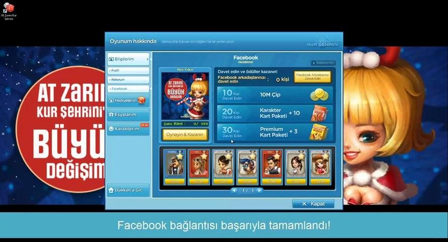 Joygame At Zarını Kur Şehrini'ye Facebook ile Bağlanma
