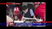 Chofer quedó atrapado en su vehículo tras impactar contra bus en Chosica