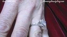 wedding ring 18k White Gold Lotus Flower Engagement Ring Setting 6