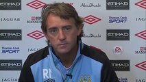 Manchester City 2-0 Everton | Mancini on Hargreaves, Fergie and Utd | English Premier League 2011-12