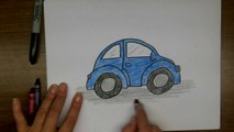 Drawing:  How to Draw a VW Beetle Step by Step - Volkswagen Punch Buggy, Slug Bug Punchbuggy