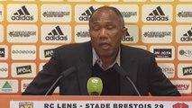 Réaction d'Antoine Kombouaré après Lens-Brest (37e journée de Ligue 2, 2013-2014).