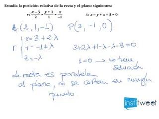 Estudia la posición de un plano y una recta