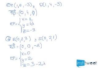 Ecuaciones parametricas de una recta dados dos puntos