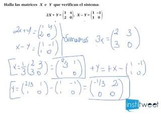 Problema resuelto de ecuación con matrices