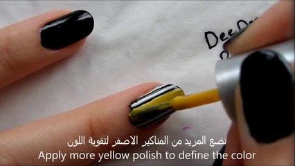 طريقة عمل مناكير مخططة بطريقتين - Striped Nail Art in 2 ways