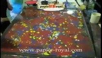 Marbled paper processing. Carta marmorizzata, marmorpapier, papier marbrè, papel marmolado