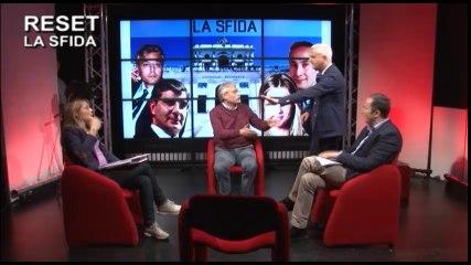 Il presidente uscente Gianni Chiodi, lascia gli studi di laqtv durante un contraddittorio con Acerbo