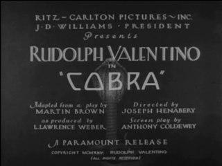 Cobra (1925) Rudolph Valentino