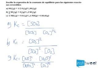 Ejercicio resuelto de Cálculo de la constante de equilibrio