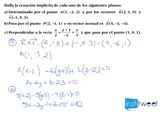 Ecuacion implicita de planos determinados por puntos, vectores y vector normal