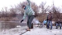 Awesome guys playing Ice slackline