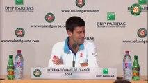 Conférence de presse Novak Djokovic Roland Garros 1T