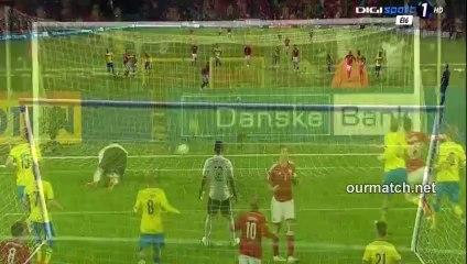 Гол Даниэль Аггер · Дания - Швеция - 1:0