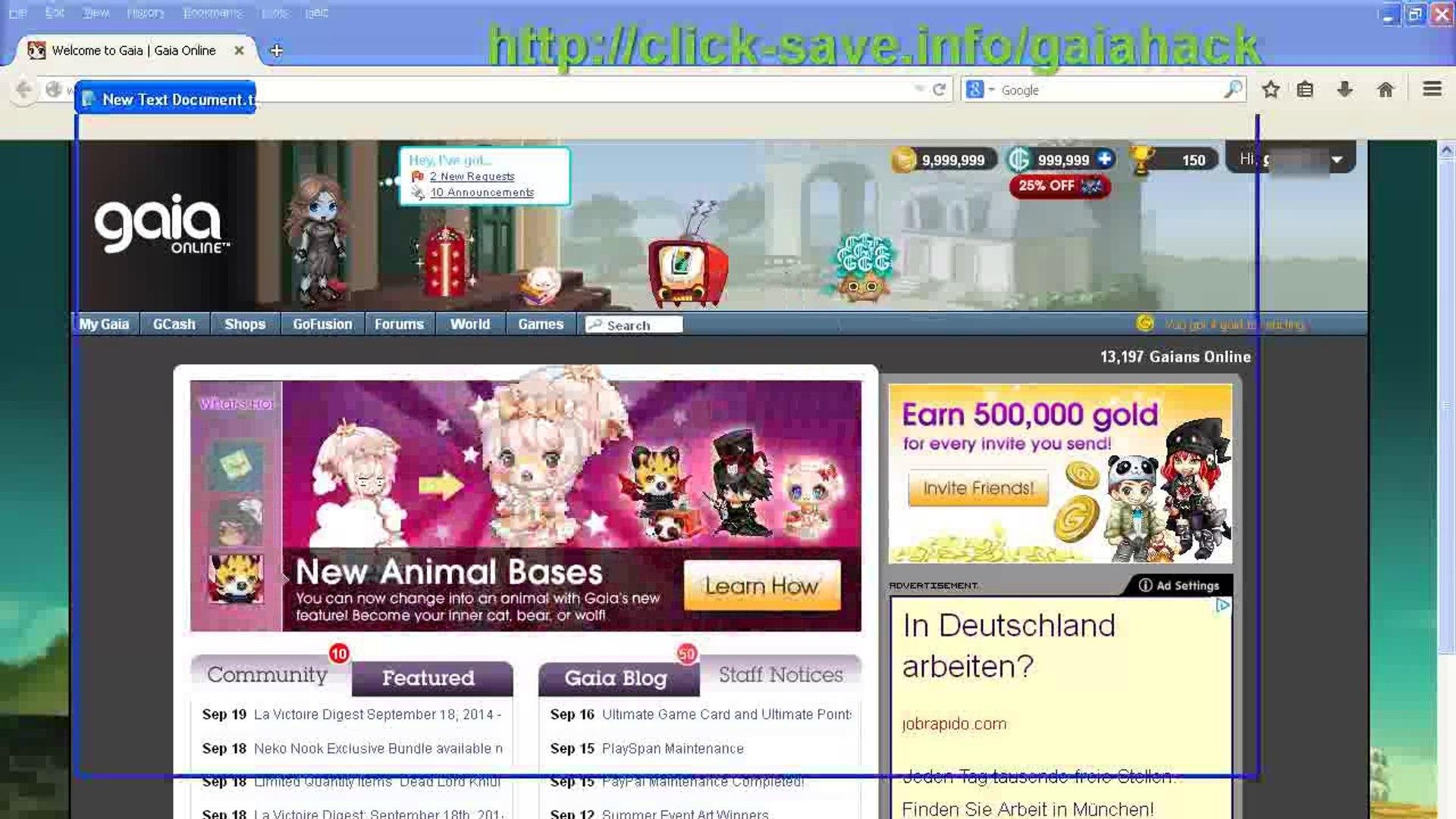 Gaia Online Hack (Unlimited Gold & GCash)
