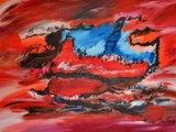 Peinture abstraite rouge artiste contemporain ame sauvage