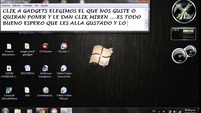 COMO ACTIVAR GADGETS DE WINDOWS 7 FACIL Y RAPIDO