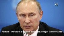 """Vladimir Poutine : """"Le général De Gaulle a toujours essayé de protéger la souveraineté française"""""""