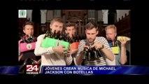 Jóvenes tocan música de Michael Jackson con botellas de cerveza