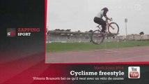 Zap'Sport : Haies, tractopelle et but, il saute tout avec un vélo de course