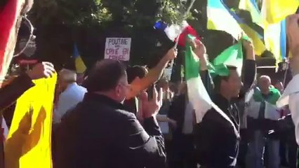 Украинцы и сирийцы станцевали на антипутинской акции в Париже