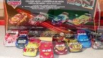 Pixar Cars Neon Speed Lightning McQueen,Migual Camino, Raoul Caroule and Shu Todoroki 4 Car Gift Pac