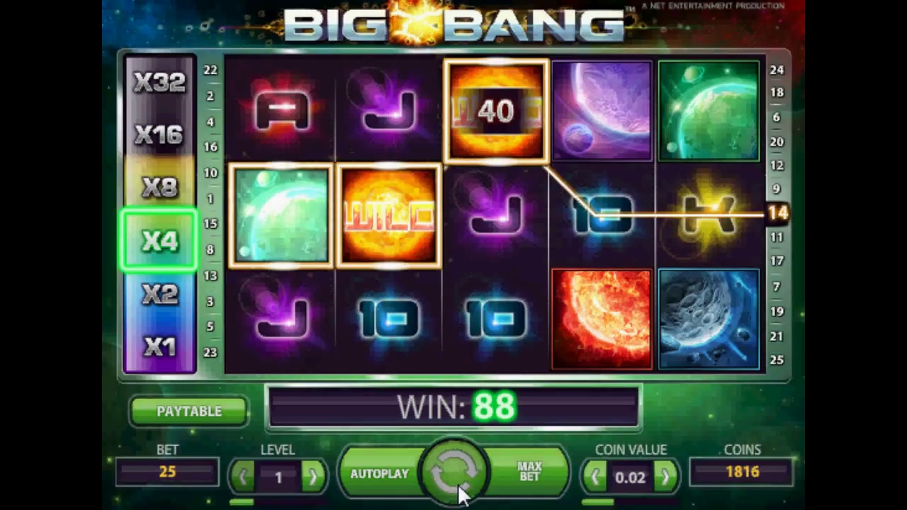 Big Bang video slot by Netent January 2014  release big win online casino