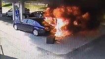 Crash d'une voiture dans une station essence
