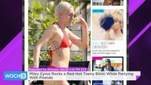 Miley Cyrus Rocks A Red-Hot Teeny Bikini While Partying With Friends
