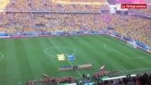 Coupe du monde 2014. Les supporters brésiliens chantent leur hymne