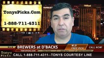 Arizona Diamondbacks vs. Milwaukee Brewers Pick Prediction MLB Odds Preview 6-16-2014