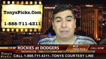 MLB Odds LA Dodgers vs. Colorado Rockies Pick Prediction Preview 6-18-2014