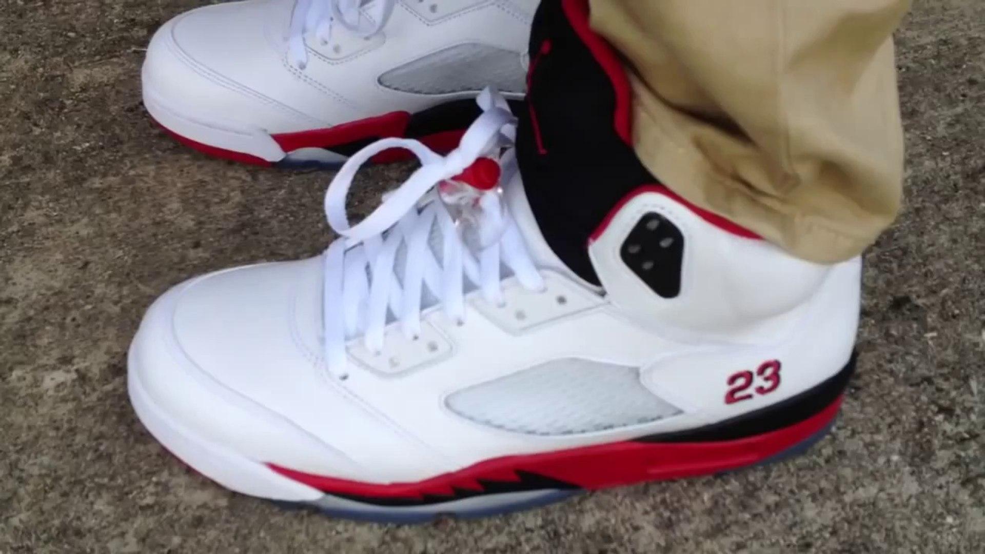 Air Jordan 5 V Retro Fire Red Black Tongue on feet
