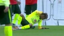 Neymar pulls off a rainbow flick in Brazil training... cynically pulled down by Fernandinho!