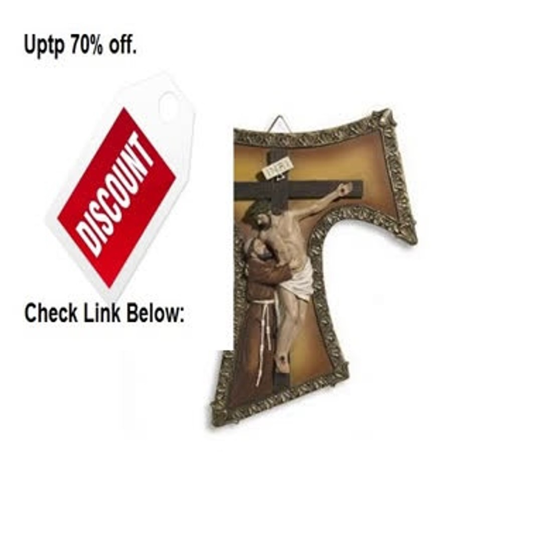 Best Price Blessed By Pope Francis Franciscan St Francis Tau Cross Wall Crucifix St Francis and Jesu