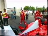 F1 2002 French GP Montoya vs Schumacher vs Raikkonen