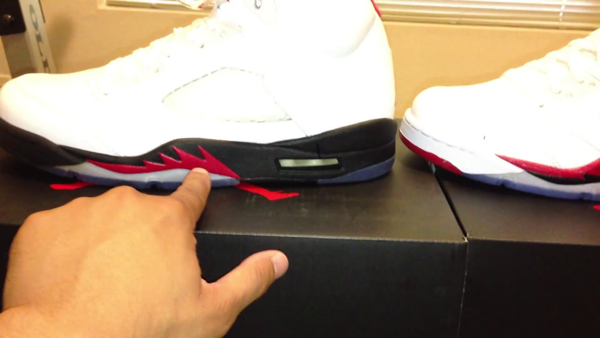 Cheap Air Jordan Shoes Free Shipping,Jordan Fire Red 5 3M vs Black Tongue