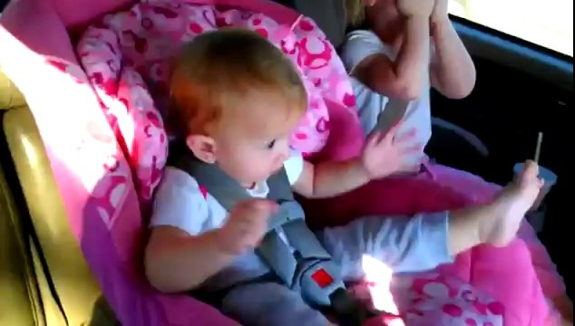 What happens to the baby sleeping in Gangnam Style listens-