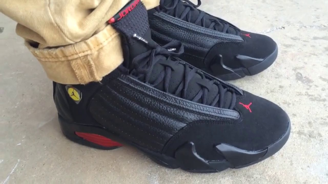 online retailer 869a8 bb3f5 air jordan 14 xiv retro last shot black varsity red on feet