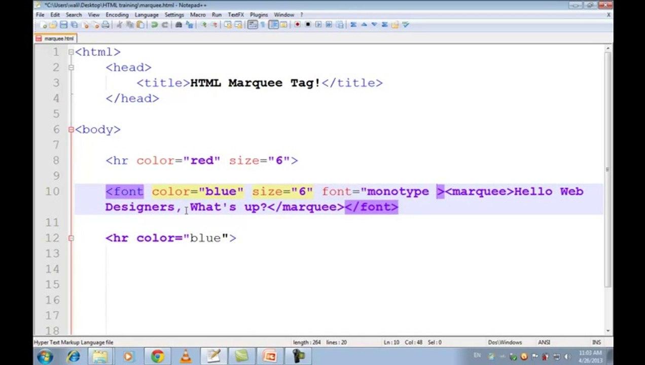 Free Computer Video Tutorials - HTML Tutorials in Urdu _ Hindi part 11  marquee tag