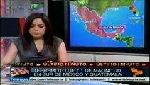 Tiembla al sur de México con magnitud de 7.1 grados Richter