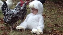 Adorable Baby Dressed as Lamb Confuses Chickens
