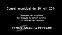 Conseil municipal du 20 juin 2014 – Désignation des suppléants des délégués du conseil municipal pour  l'élection des sénateurs
