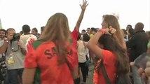 Football / Les supporters brésiliens dépités après la 1ère période de Brésil - Pays-Bas  - 12/07